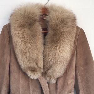 Vintage Suede Coat detachable collar